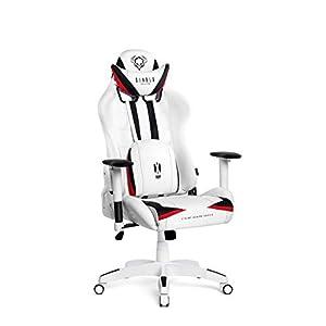 Diablo X-Ray Gaming Stuhl Bürostuhl Kinderstuhl Schreibtischstuhl 2D Armlehnen Ergonomisches Design Kunstleder Perforation Wippfunktion (weiß-schwarz, Kindergröße)