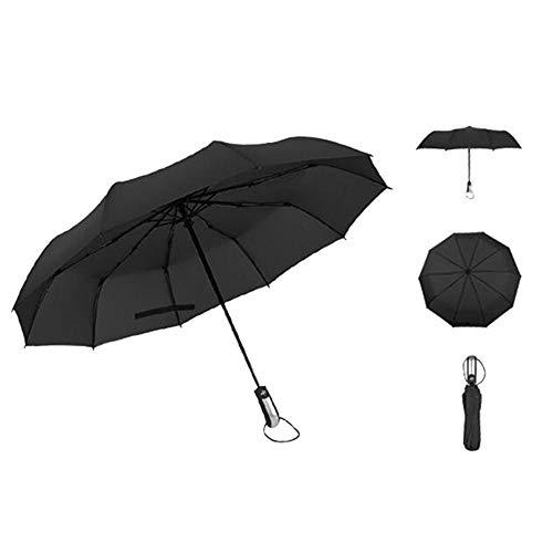 Lanker Kompakte Reise Regenschirm Winddicht Golf Regenschirm 10Stahl Rippen Automatische Open Close Fast Dry Comfort Griff Tragbar Leicht Frauen Herren Kinder ks02p Schwarz