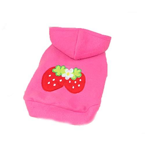 e Kleidung Kleine Erdbeere Hund Katze Welpen Fleece Hoody Kleidung Haustier Bekleidung Dress Up Pet Kostüm Liefert Rosa ()