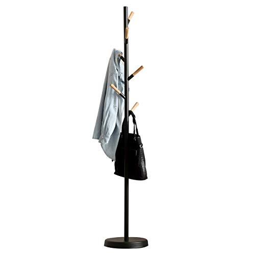 Vlush Garderobenständer,Garderoben ständer Vintage, Kleiderständer, Flurgarderobe, Holz, Stabil Metall,schweren Fuß, 32×32×175cm(Schwarz)