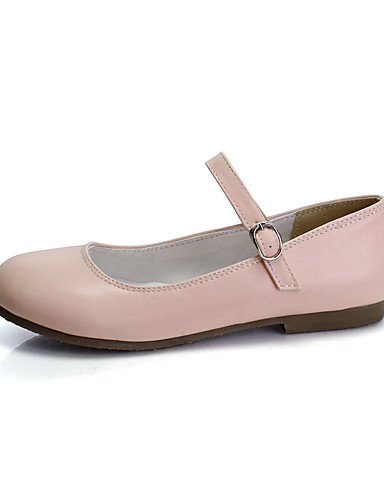 XAH@ Chaussures Femme-Extérieure / Habillé / Décontracté-Noir / Rose / Blanc / Amande-Talon Plat-Baby / Bout Arrondi-Plates-Similicuir black-us4-4.5 / eu34 / uk2-2.5 / cn33
