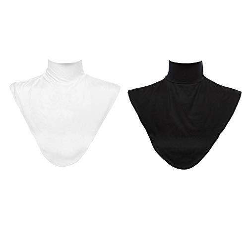 2X Frauen Kragen Abnehmbare Hälfte Shirt Bluse Rollkragen - Mock Rollkragenpullover