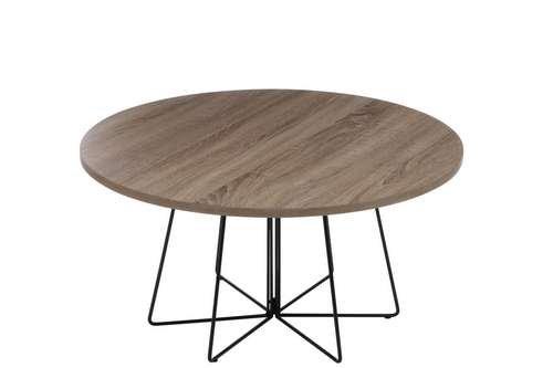J-line Table Basse Design Ronde en Bois et Métal - Diam. 80cm