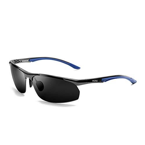 BFQCBFSG Herren Sonnenbrille Driving Brille Aluminium-Magnesium Polarisator Metall Mode Half Frame Fahrerspiegel Uv Reise Urlaub Raum Blendbrille, Blau