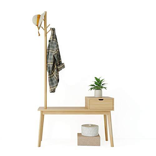 Happy Home hölzerner–Perchero con Banco para Zapatos, Videx–Aparcamiento kleiderhutst änder con 5Ganchos y cajón para Hall Tree Entryway