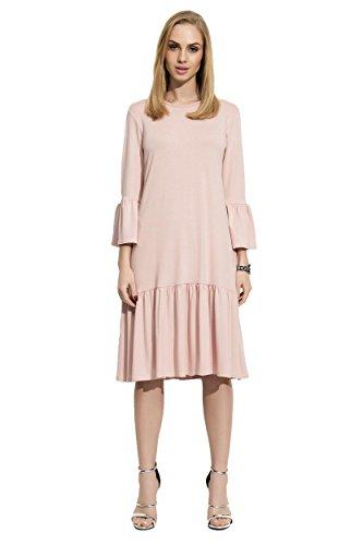 Damen Glockenkleid Kleid Elegant Langarm Mittellang Abendkleid Gr. S M L XL 36 38 40 42, F03...