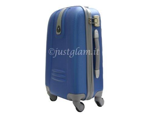 JustGlam - Bagaglio a mano Trolley in ABS rigido 4 ruote piroettanti voli lowcost/ Royal piccolo