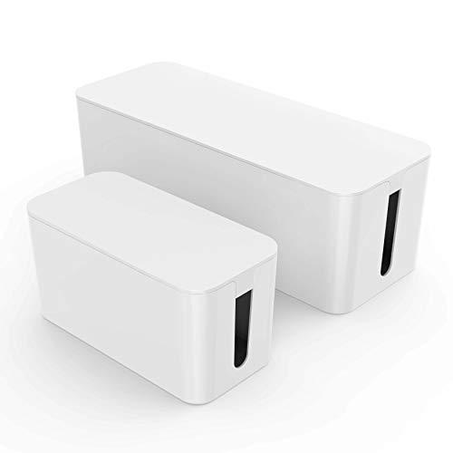 Kabelbox groß und klein weiß I Kabelboxen 2 Stück I Kabelbox Set I Kabelmanagment für Kabelsalat I Kabel verstecken zum Schutz von Kindern und Haustieren I Kabelorganisation Kleine, Weiße Kabel