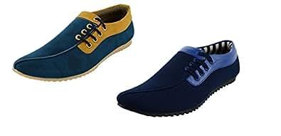 ESSENCE Men's Blue Combo of 2 Boat Shoes(6)