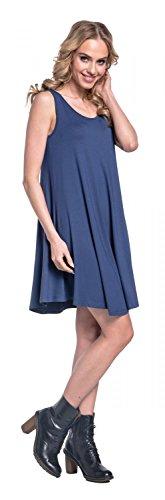 Glamour Empire. Donna Vestito Elasticizzato Senza Maniche Scollo Rotondo. 625 Blu Grigio
