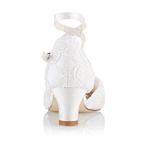 Mrs White Damen Brautschuhe 00967 Geschlossene Zehen Chunky Heel Spitze Satin Pumps Hochzeitsschuhe Elfenbein