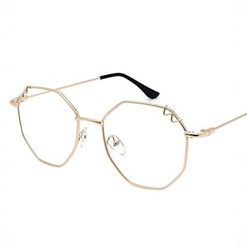 Yiph-Sunglass Sonnenbrillen Mode Retro unregelmäßige Brillengestell Flache Linsen Sonnenbrillen für Frauen. (Farbe : Gold)