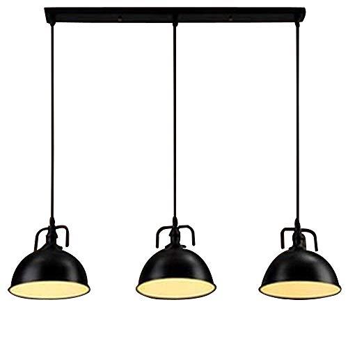 NIUYAO Industrie Kronleuchter Metall Loft Kuppelform 3 Licht Hänge Pendelleuchten Schüssel Lampenschirm Innenbeleuchtung Retro-Schwarz (Pendelleuchte 3-licht)