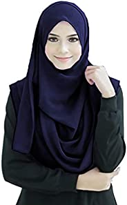 Justkartit Instant 2 Loop Hijab Scarf For Women (NavyBlue Color, 70 * 30 Inch)