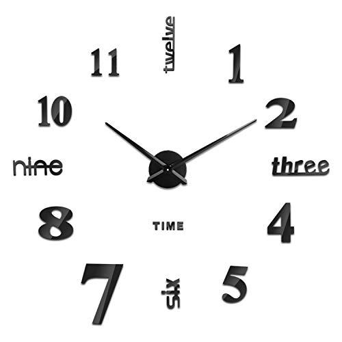 SOLEDI Reloj de Pared 3D DIY Reloj de Etiqueta de Pared Decoración Ideal para la Casa Oficina Hotel Restaurante, llenado Pared Vacía 3D Reloj (Negro)