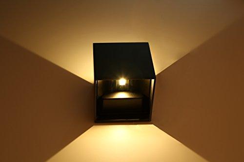 Topmo 10W LED Wandlampe mit einstellbar Abstrahlwinkel Wasserdichte IP65 Wandbeleuchtung Quadrat LED Außenwandleuchten ersetzt 80W warmweiß (3000K), 700 Lumen,schwarz