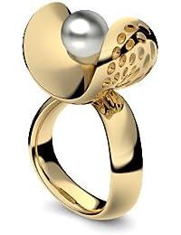 Golfschmuck Golf Schmuck Gold Ring Akoya Perle grau hochwertig vergoldet! + inkl. Luxusetui + Akoya Perle grau Ring Gelbgold vergoldet Perlenring Gelbgold vergoldet AM253 VGGGPGPE