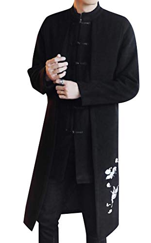 CuteRose Men Cashmere Martial Arts Embroidered Faux Twinset Overcoat Black 4XL Single Breasted Peacoat