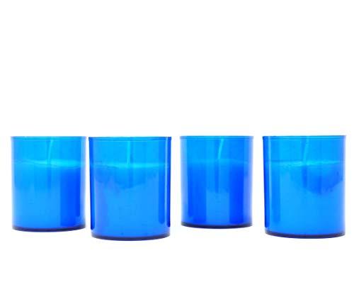 t Langer Brenndauer in farbigem Kunststoffhalter für Garten, Party, Innen- und Außenbereich, 20 Stunden je Kerze, farblos, 5.0 cm (D) x 6.0 cm (H) (Blau) ()