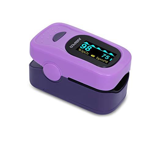 JUMPER 500A Digitales Pulsoximeter Finger Pulsoximeter Sauerstoffsättigung und Pulsfrequenzmessgerät mit Lanyard AAA-Batterien Silikonhülle (Lila)