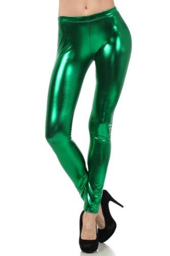 Sakkas Footless Liquid Wet Look Metallic Stretch Leggings - Grün / X-Large