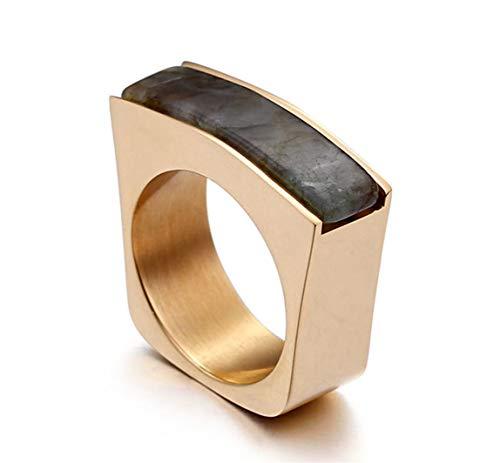 Ueice Damen Rechteck Schnitt Natürlich Stein Golden Schatten Rostfreier Stahl Ringe,Grau,Größe 57 (18.1)