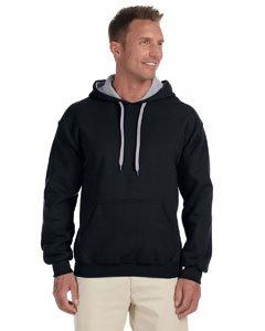 Gildan Sweatshirt für Herren mit Kapuze M Nero/Grigio sportivo