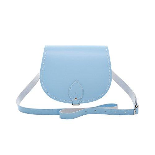 Zatchels - Borsa in Pelle Fatta a Mano - Colori Pastello - Saddle Bag British Made - Donna Blu Baby