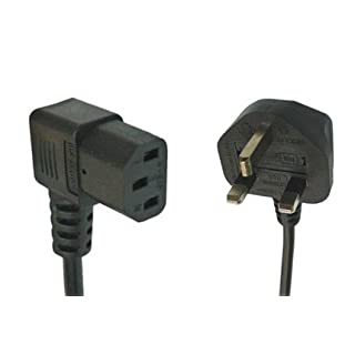 5m Black Mains Cable with 90 Degree Kettle Plug by Auline® UK Plug to Right Angle Angled C13