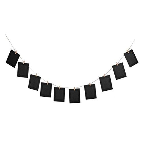 OULII 10pcs colgante DIY álbum Garland Kraft papel foto marco cadenas de conjuntos de cuerda para la decoración de la boda (negro) (precio: 5,99€)