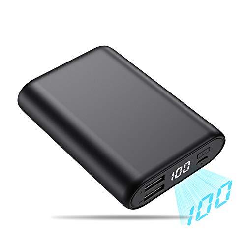 QTshine Batterie Externe, 16800mAh [Mini Design ] Power Bank avec Écran LCD Ultra- Compacte Portable Chargeur 2 Ports USB Sortie Haute Vitesse Compatible avec Android/iOS Tablettes et Smartphones