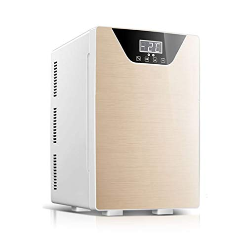 Auto Dual-Use-kleinen Kühlschrank, 20L große Kapazität DREI-Kern-CNC-Auto Einzel-Tür-Typ kaltes Heizgerät, Glasmaterial ! (Color : Gold) - Doppel-tür Kompakt Kühlschrank