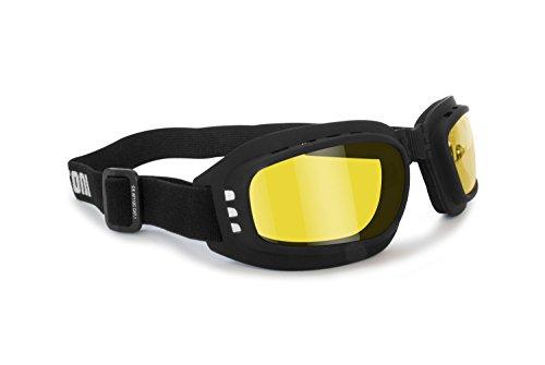 Occhiali maschera moto con lenti antiurto antifog - elastico regolabile - AF112 by Bertoni (nero gomma-D)