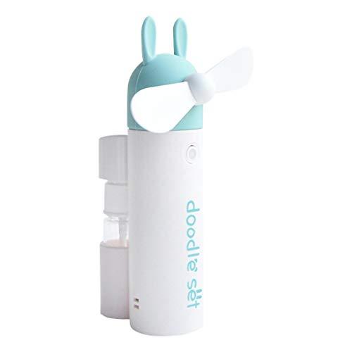 CAOQAO Mini 1200mAh Mignon Spray Atomisation Silencieux Ventilateur De Poche USB Ventilateur, RéGlable Ventilateur Portable Rechargeable,pour Maison, La Marche, La RandonnéE, Le Camping,Vert
