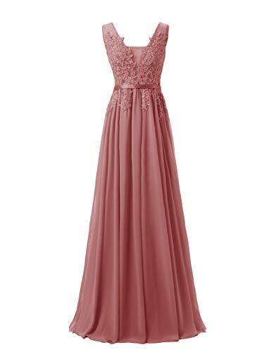 LuckyShe Damen Alinie Chiffon Abendkleider Elegant für Hochzeit Lang mit Spitze Ärmellos Altrosa Grosse Grössen 52