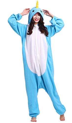 Narwal Kostüm - DATO Pyjama Tier Onesies Narwal Erwachsene Kigurumi Unisex Cospaly Nachtwäsche für Hohe 140-187CM