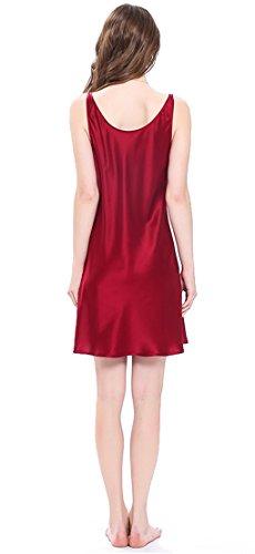 LILYSILK Chemise de Nuit pour Femme en 100% Soie à Bretelle 22 Momme Rouge Vineux