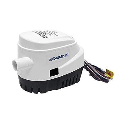 Wisamic Pompe de cale Automatique - Pompe à Bateau Submersible 12V, 750 GPH avec Interrupteur à Flotteur Interne