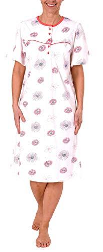 Damen Nachthemd Kurzarm von Normann mit Knopfleiste am Hals - 191 210 90 316, Farbe:Creme, Größe2:48/50 -