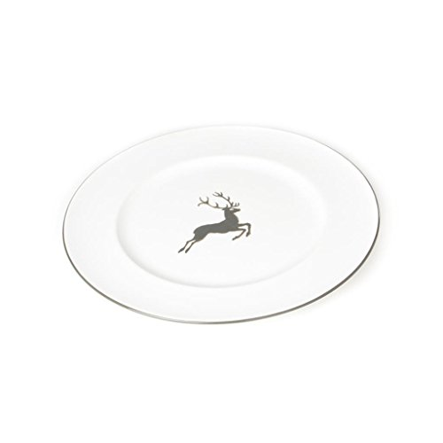 GMUNDNER KERAMIK Speiseteller Gourmet   Durchmesser : 27 cm   grauer Hirsch   Geschirr, handgemacht in Österreich