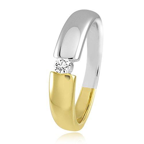 Diamond Line Diamant-Ring Damen 585 Gelbgold mit 1 Diamanten 0.10ct. Lupenrein