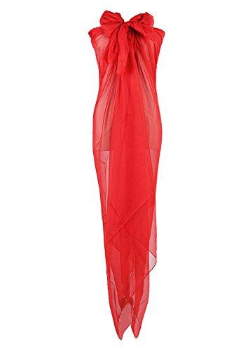 PB-SOAR XXL Damen Einfarbig Unifarben Sarong Pareo Strandtuch Wickelrock Wickeltuch, weich und leicht (Rot)