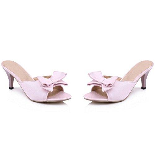 RAZAMAZA Femmes Elegant Bout Ouvert Sandales Mules Aiguille Bow Taille Grande Rose