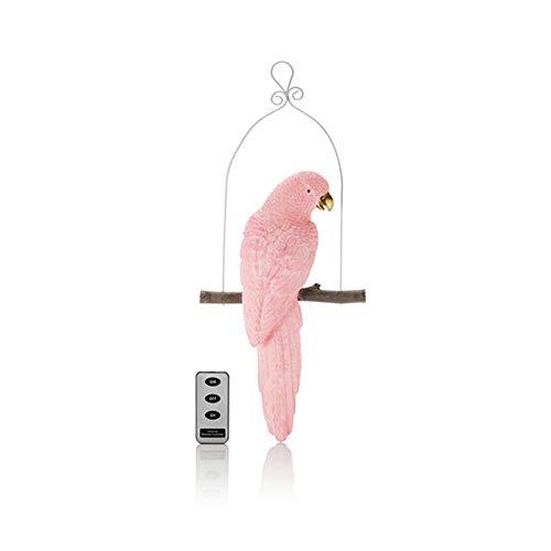 Papagei als Motivkerze mit LED-Beleuchtung, Timer und Fernbedienung - Echtwachskerzen (Rosa)