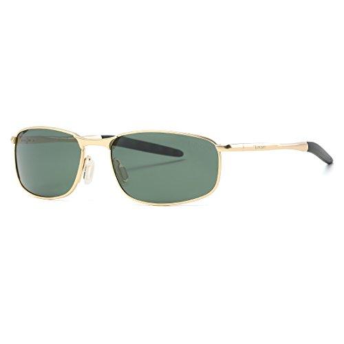 kimorn Polarisierte Sonnenbrille Herren Retro Rechteckig Rahmen Klassisch Unisex Gläser K0535 (Gold&G15)