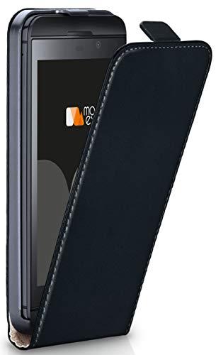 MoEx® Flip Case mit Magnetverschluss [Rundum-Schutz] passend für BlackBerry Z30 | 360° Handycover aus feinem Premium Kunst-Leder, Schwarz