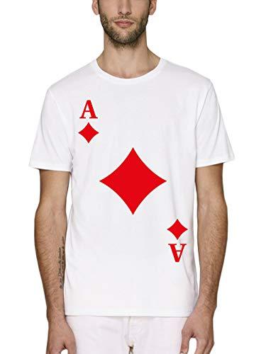 clothinx Herren T-Shirt Bio und Fair Karneval & Fasching Spielkarte Karo Ass Kostüm Weiß Größe ()