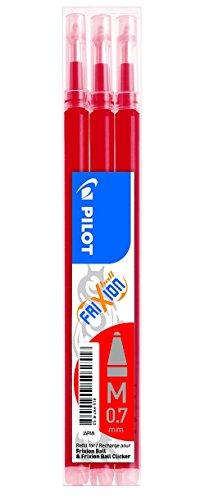 Pilot bls-fr7-r-s3 refill per penna a sfera frixion ball pilot, 0.7 mm, confezione da 3, rosso