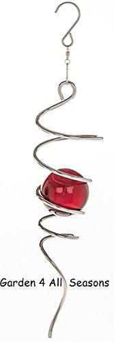 Colore: Argento, Rosso, 25 cm, in acciaio inox, spirale-Girandola a vento, per Interni, Accessorio ornamentale da giardino, in confezione
