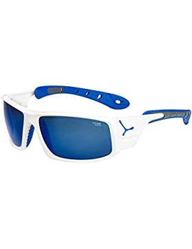 Cébé ICE 8000 - Gafas de sol, Hombre, color Shiny White/Blue 4000 Grey Mineral Flash Blue, tamaño large